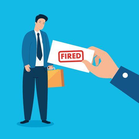 businessman sad fired of work vector illustration design