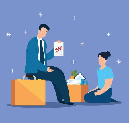 couple sad fired of work with box vector illustration design