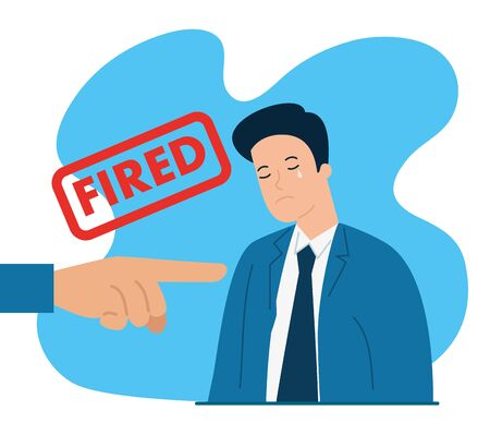 businessman crying fired of work vector illustration design