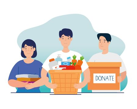people with box and basket of charity donation vector illustration design