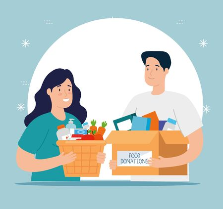 couple with box and basket of charity donation vector illustration design