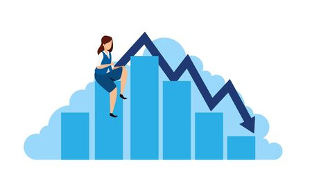 stock market crash with businesswoman and infographic vector illustration design