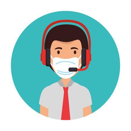 Mann-Agent-Call-Center mit Gesichtsmaske-Vektor-Illustration-Design