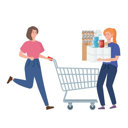 women and cart shopping with excess groceries vector illustration design