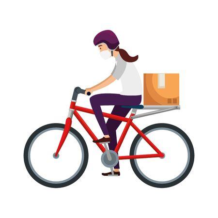 delivery worker female using face mask in bike vector illustration design