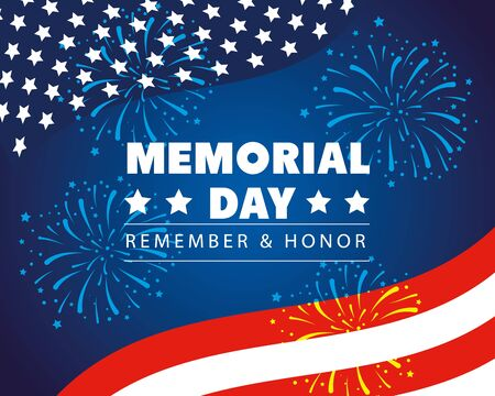 happy memorial day with decoration of flag usa vector illustration design