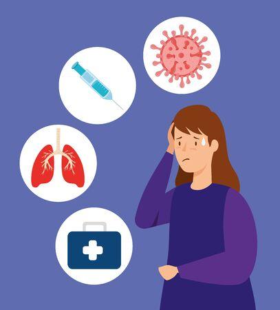woman sick of coronavirus 2019 ncov and medical icons vector illustration design