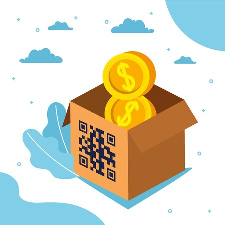 qr code over box and coins design of technology scan information business price communication barcode digital and data theme Vector illustration Stock Illustratie
