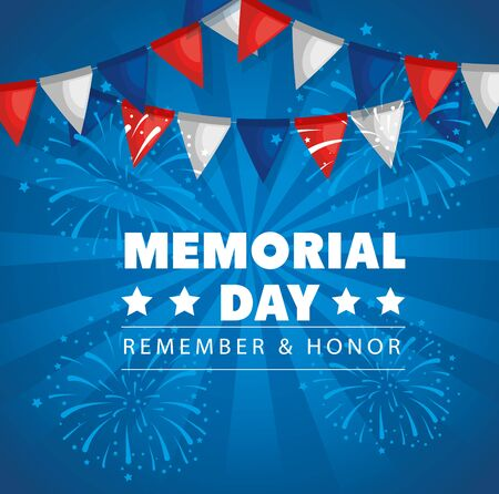 memorial day with garlands hanging decoration vector illustration design Vectores