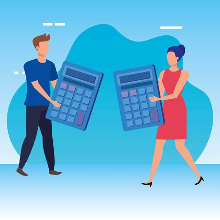 young couple with calculators characters vector illustration design