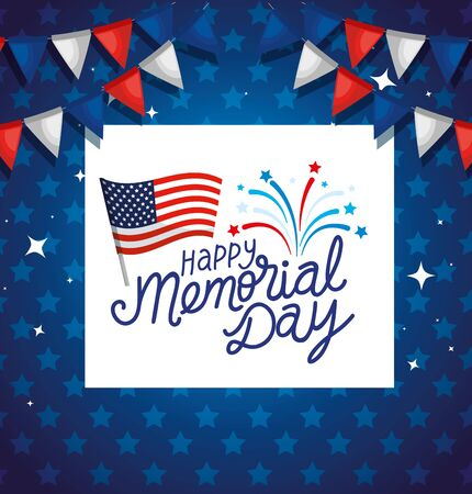 happy memorial day with flag usa and garlands hanging vector illustration design Vectores