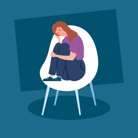 woman sitting in chair with stress attack vector illustration design