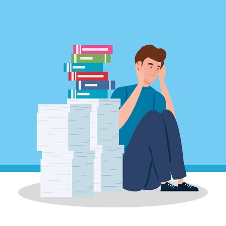 man sitting with stress attack and stack of documents vector illustration design