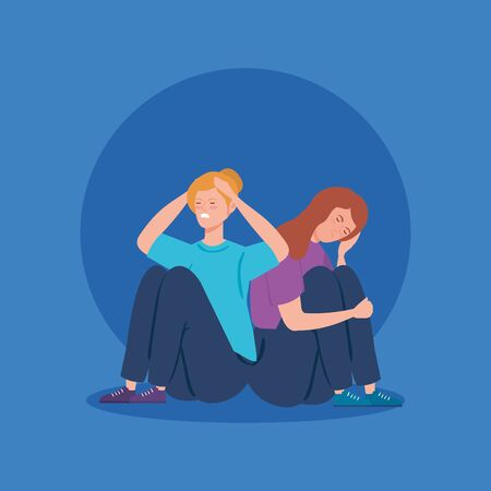 women sitting in floor with stress attack vector illustration design