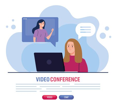 young women in video conference in laptop illustration design