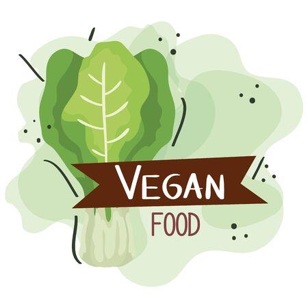 vegan food poster with chard vegetable illustration design