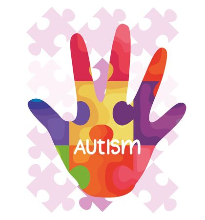 world autism day and hand with puzzle pieces vector illustration design Illustration