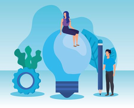 woman and mann teamwork with pencil and bulb idea over blue background, vector illustration
