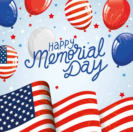 happy memorial day with flag usa and balloons helium decoration vector illustration design