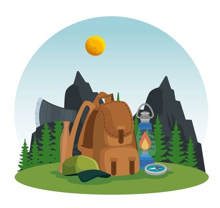 mountains with pines trees landscape and backpack to summer vector illustration
