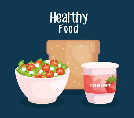 salad with wholemeal bread and strawberry yogurt nutrition to healthy food vector illustration