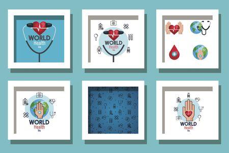 bundle of world health day and set icons vector illustration design Ilustrace
