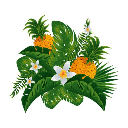 tropical pineapple with leafs decoration vector illustration design