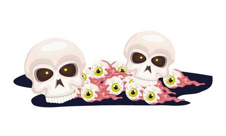 skulls with eyes scary of halloween vector illustration design