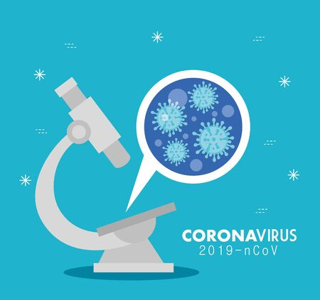 microscope with particles of coronavirus 2019 ncov vector illustration design Vectores