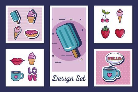 designs set of icons style pop art vector illustration design Illustration