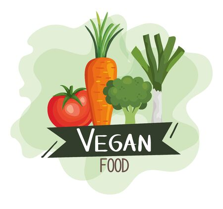 vegan food poster with tomato and vegetables vector illustration design Vetores