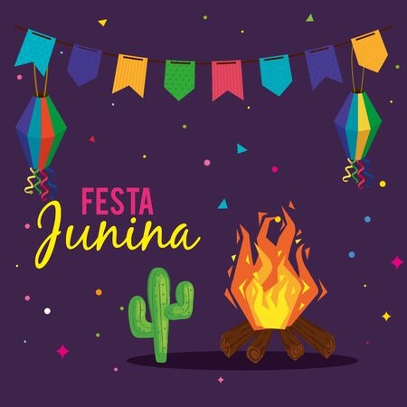 festa junina poster with bonfire and icons traditional vector illustration design Vectores
