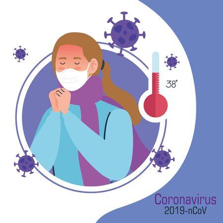 coronavirus 2019 ncov infographic with woman sick using face mask vector illustration design