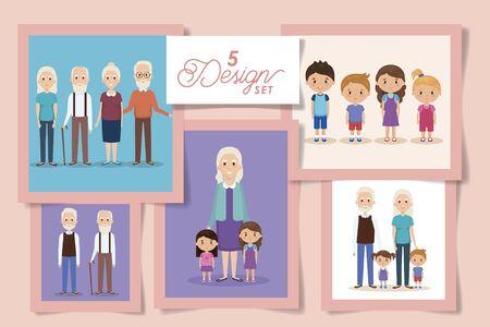 five designs of grandparents with grandchildren vector illustration design