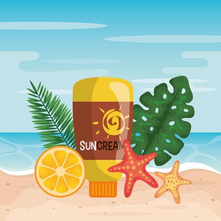 suncream with orange fruit and starfishes with leaves to summer time vector illustration