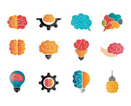bundle of brainstorming with set icons vector illustration design