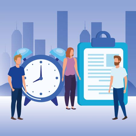 group of people with alarm clock vector illustration design Vettoriali