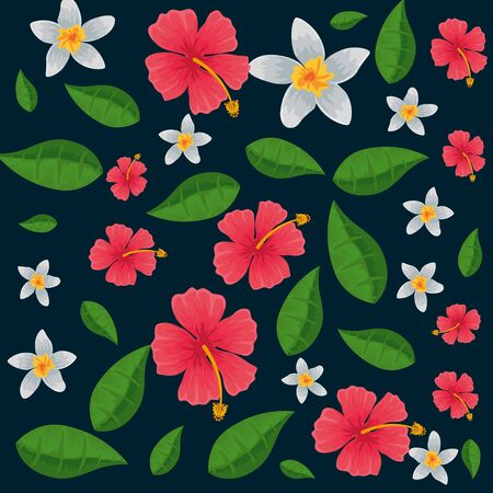 exotic tropical flowers and leafs pattern vector illustration design