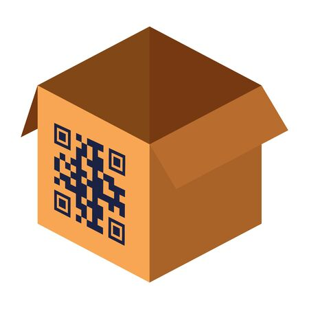 qr code over box design of technology scan information business price communication barcode digital and data theme Vector illustration