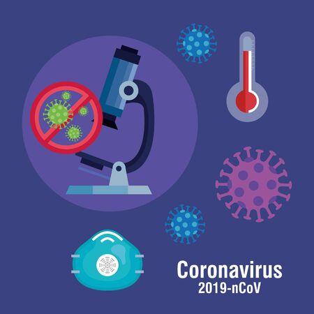 microscope with coronavirus 2019 set icons vector illustration design Vectores