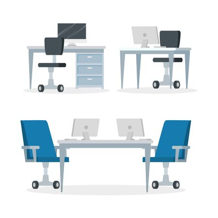 set scenes of workplaces with desks and chairs vector illustration design