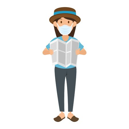 woman using face mask with hat and paper vector illustration design  イラスト・ベクター素材