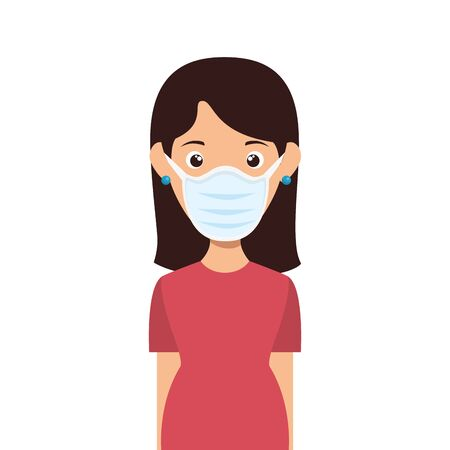 woman with face mask isolated icon vector illustration design  イラスト・ベクター素材