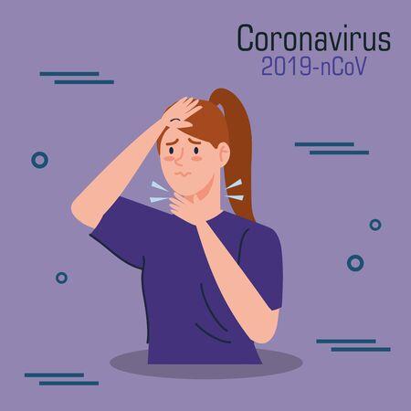 woman sick of coronavirus 2019 ncov vector illustration design