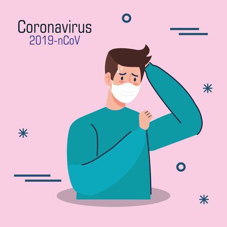 young man sick of coronavirus 2019 ncov vector illustration design