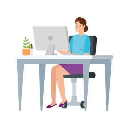 woman with desk and computer in workplace vector illustration design