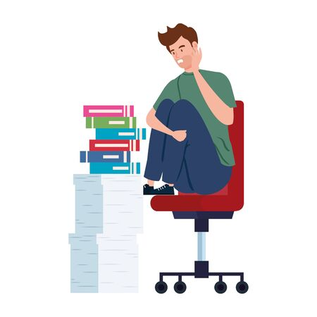 man sitting in chair with stress attack and stack documents vector illustration design Illustration