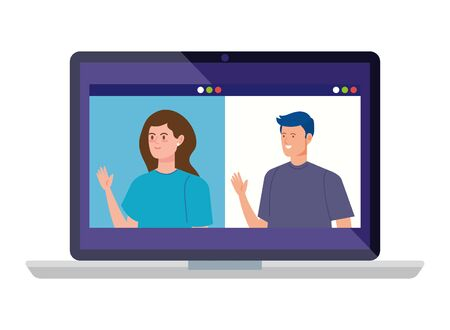 young couple in video conference in laptop illustration design