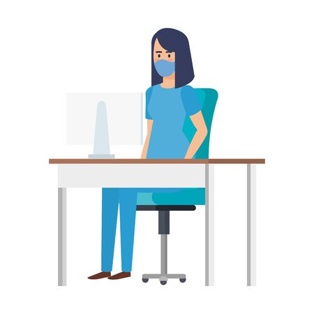 female paramedic with face mask in desk vector illustration design Illustration