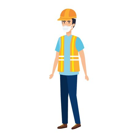 man worker using face mask isolated icon vector illustration design Vector Illustratie